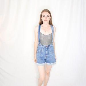 OUTLAW Denim Jeans Short Bib Brace Overalls Blue